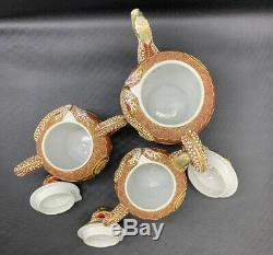 VTG Porcelain Dragon Ware Moriage Satsuma Tea Set Teapots Lithophane Geisha 688