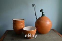 VTG Signed Studio Pottery 16 Pumpkin Set Soup Toureen Bowls Tea Pot Ladle S+P