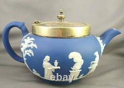 VTG Wedgwood England Cobalt Blue Jasperware EPNS Teapot Creamer Sugar Set