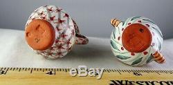 V. Rare Mackenzie Childs Miniature Teaset Teapot, Creamer, Sugar Bwl ++ Minty