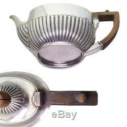 Victorian antique sterling silver hallmarked tea set teapot London 1894