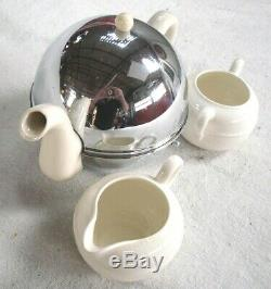 Vintage 1950s Unused Ceramic PEARL COSYPOT Teapot Set with Stainless, Heat Cover