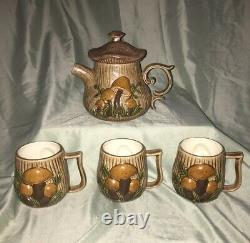 Vintage 1980s Hand Made And Hand Painted Teapot with Tea Cups Set Mushroom