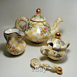 Vintage 1995 Mackenzie-Childs Lemon Curd Teapot 6 Piece Set Sugar and Creamer