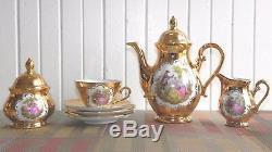 Vintage 8 Piece Porcelain 22 K RzB Fragonard Courting Couple Teapot Tea Set