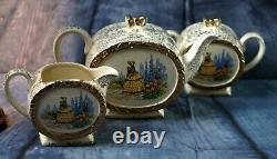 Vintage Antique 1930' Sadler Barrel''Crinoline Lady Teapot Creamer & Sugar Bowl