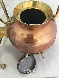 Vintage Antique English Teapot Tea Pot Kettle Warmer Stand Copper Brass 14 x 9