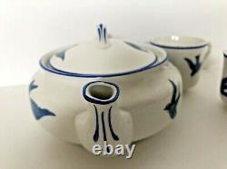 Vintage Antique K. T. &K. China Bluebird Child's Tea Set Teapot & 2 teacups c. 1926