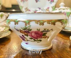 Vintage Aynsley Wilton Green Bone China Tea Set for 6