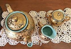 Vintage Cameron Clay MINT GREEN Weeping 24 KT. Gold TEAPOT, SUGAR BOWL & CREAMER