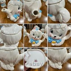 Vintage Ceramic Lefton Toodles Dog Cookie Jar Teapot Creamer Sugar Set 4 Pieces