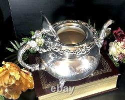 Vintage Community Ascot Tea Pot Silver Plated Etched Victorian Etched Design