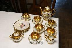 Vintage Dresden Demitasse Complete Tea Set Teapot Plates Cups Creamer &Sugar