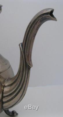 Vintage English Silver MFG MRR Footed Oval Tray Tea Coffee Pot Sugar Creamer Set