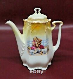 Vintage German Porcelain Childs Tea Set Teapot, Cream, Sugar, 5 Cups & Saucers