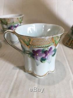 Vintage Hand-painted Violets Chocolate Tea Set Gold Trim Unmarked Nippon Pot Cup