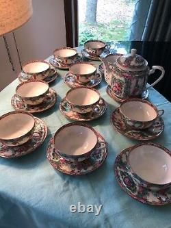 Vintage Handpainted Rose medallion Fine China Tea Set For eleven with teapot