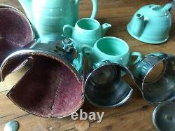 Vintage Insulated Teapot Water / Coffee Pot, Milk Jug and Sugar Set Green/ Blue
