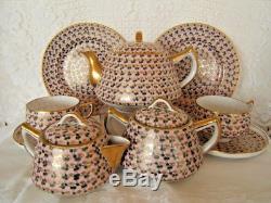 Vintage Japanese 12 Piece China Tea Pot SetPink Flowers w Gold