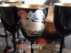 Vintage Japanese Tea Set Lacquer Ware Cups Tray Tea Pot Hand Painted WoodLacquer