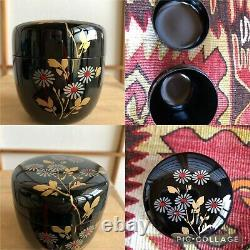 Vintage Japanese Tea ceremony set, Ceramic Glazed tea bowl, pot, bamboo tools