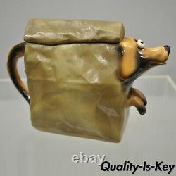 Vintage John Groth Ceramic Pottery Doggie Bag Teapot Dog in Paper Lunch Bag