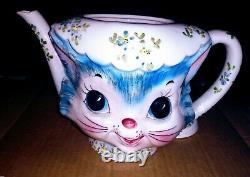 Vintage LEFTON MISS PRISS Cat 7 pc Set Teapot, Creamer & Sugar withLids, S&P