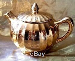 Vintage Lady Halmilton 22-kt Gold Tea Set, Teapot, Sugar Dish, Creamer