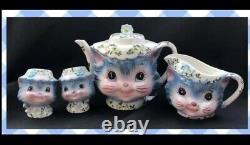 Vintage Lefton Miss Priss Teapot-Creamer-Salt and Pepper Set