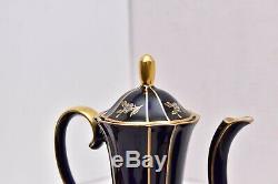 Vintage Lindner Kueps Bavaria Echt Cobalt Blue tea Set teapot creamer sugar CHIP