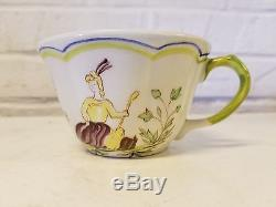 Vintage Longchamps Moustiers Faience France 21 Piece Tea Set Cup/Saucer/Teapot