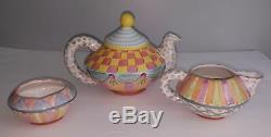 Vintage Mackenzie Childs Wallcourt Stacking Teapot Pottery Set Rare