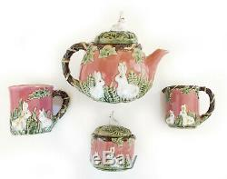 Vintage Majolica Rabbit Tea Set Teapot Sugar Creamer Rose Pink Bunny Easter