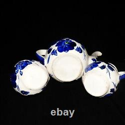 Vintage Mexican Talavera Coffee Tea Set Blue & White Floral Set Of 6 Pot, Sugar