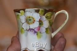 Vintage NIPPON Floral Hand Painted Chocolate Pot Set, Coffee/Teapot with5 Cups