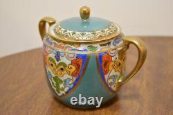 Vintage Nippon Hand Painted Tea Set Pot Creamer Sugar Bowl Cups Saucers Morimura