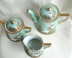 Vintage Nippon Moriage Jeweled Flying Snow Geese Teapot, Cream & Sugar Set