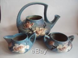Vintage Original Roseville Pottery Magnolia Teapot Tea Pot Sugar Creamer Set