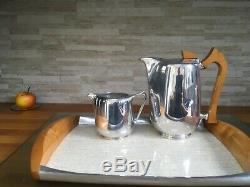 Vintage Picquot Ware Tea Set Five Pieces with Tray Original teapot