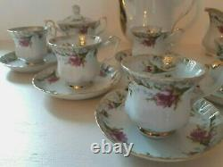 Vintage Porcelain Tea Set by CHODZIEZ-Poland, Tea Pot, Sugar Bowl, Creamer Bowl