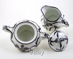 Vintage Porcelain Teapot Tea Set Floral Silver Overlay Split Handles Germany