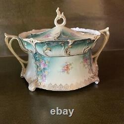 Vintage RS Prussia 4 Piece Set, Creamer, Sugar, Bisque Jar And Tea Pot Mint
