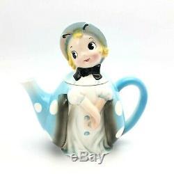 Vintage Rare 1950s Anthropomorphic Ladybug Teapot Blue Polka Dot Northern Imp