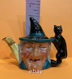 Vintage & Rare Halloween Witch & Black Cat Thorley Tea Pot England Staffordshire