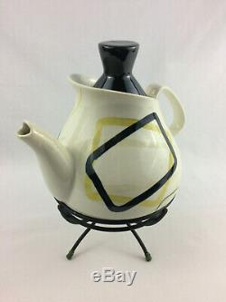 Vintage Red Wing Smart Set Teapot with Black Top & Original Stand Excellent Cond