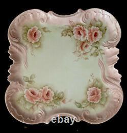 Vintage Roses Tea Set 10pc Hand Painted Embossed Porcelain Pink Cottage Decor