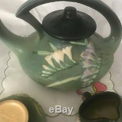 Vintage Roseville Freesia Green Tea pot, creamer and sugar set 6 S