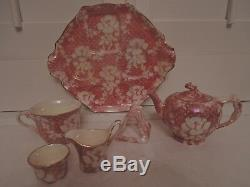 Vintage Royal Winton Chintz Pink Rose Brocade Breakfast Set Teapot Rosebud