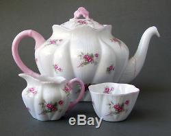 Vintage SHELLEY Rose Spray Tea Set with TEAPOT Fine Bone China Service for 6