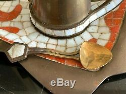 Vintage Salvador Teran Mexican Handwrought Mosaic and Brass TeaPot and Tray Set